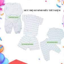 Set 3 bộ đồ sơ sinh cao cấp tiết kiệm cho bé trai và bé gái size 0-3m (  dưới 5,5kg) | NB HOUSE