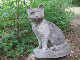 vintage 13 tall cement sitting cat