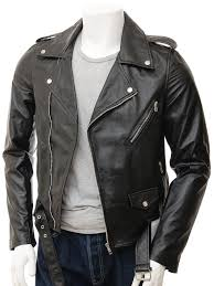 men s black leather biker jacket ss front