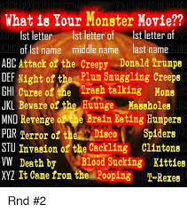 what is your monster movie 1st letter 1st letter of