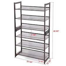 mics 3 tier stackable metal shoe rack flat slant adjule shoe organizer shelf for