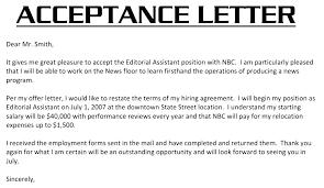 Offer Acceptance Email Sample Job Offer Acceptance Letter Template