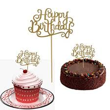Amazoncom 10 Gold Glittery Happy Birthday Cake Toppers Sparkling