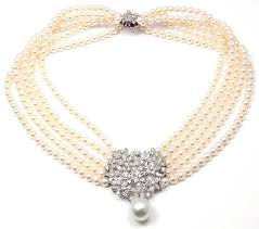 mikimoto five strand pearl diamond white gold choker necklace in new condition for in holland