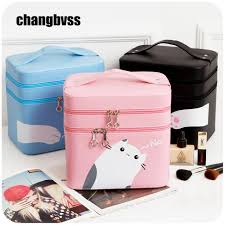 awesome desktop or portable travel cosmetic storage bag jewelry box large capacity cosmetic makeup organizer cute cat with cute makeup conners