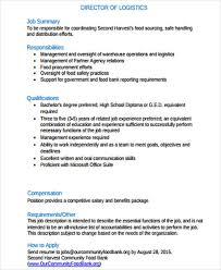 Job Qualification List Logistics Job Description Sample 12 Examples In Word Pdf