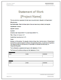 Statement Of Work Template (Ms Word/excel) | Templates, Forms ...
