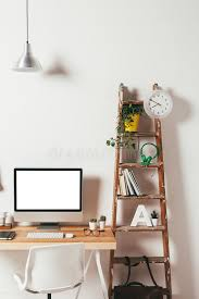 minimal office. Download Minimal Office On White Background. Stock Image - Of Briefcase, Interior: