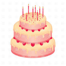 Sweet Pink Wedding Cake With Candles Vector Image Of Food And