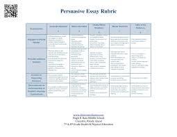 Persuasive Essay Rubric Grading Rubric Persuasive Essay Best Cheap Essay Writing Service