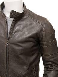men s vintage leather biker jacket halberton side