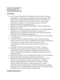 Tableau Sample Resumes Tableau Sample Resumes Resume For Study 5