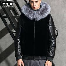 mens faux leather moto jacket top brand leather motorcycle jacket faux fur coat fur trim hooded