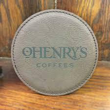 ohenry s custom leather coffee coaster