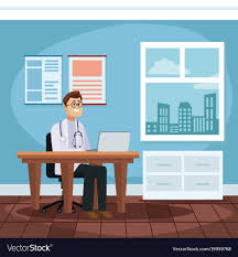 Cartoon Office Patient At Doctors Office Cartoon Royalty Free Vector Image
