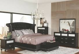 300643q 5 pc brazille collection black finish wood metallic velvet upholstered headboard queen bedroom set