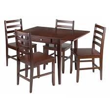 Hamilton 5 Piece Drop Leaf Dining Table W 4 Ladder Back Chairs By