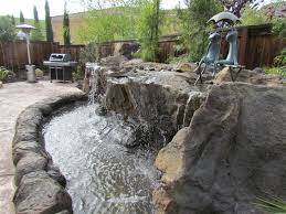 Lawn & Garden:Backyard Waterfall Designs for Something Good and Special  Unusual Stone Backyard Waterfall