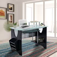 computer furniture design. Stylish Frosted Glass Top Computer Desk With Storage Computer Furniture Design