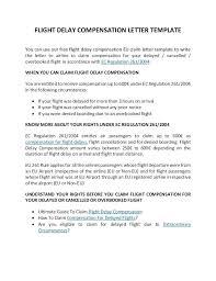 Delayed Flight Compensation Letter Template Airline