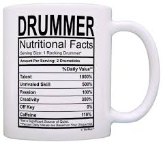 amazon drummer gifts drummer nutritional facts label percussion drum player gift coffee mug tea cup white home audio theater