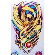 цветной эскиз в стиле биомеханика эскизы татуировок