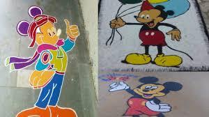 Easy Cartoon Rangoli Designs 9 Beautiful Mickey Mouse Rangoli Designs With Images