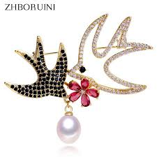 2019 <b>ZHBORUINI 2019 New</b> Natural Freshwater Pearl Brooch ...