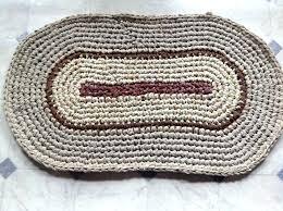 oval rag rug handmade crochet oval rag rug brown tans bed bath kitchen prim rustic handmade oval rag rug