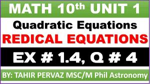 math 10th quadratic equations radical equations exercise 1 4 question 4