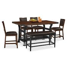 american signature dining room furniture. newcastle counter height table, 4 chairs and bench - mahogany by american signature dining room furniture d