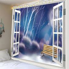 dreamlike style faux window printed wall art tapestry