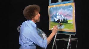bob ross works away at a happy painting during an episode of the joy of