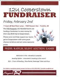 12u Cooperstown Baseball Fundraiser Root River Center