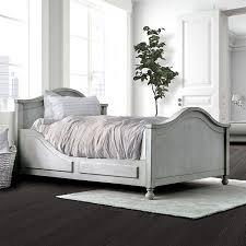 CM7865T Lovis antique white finish wood twin bed camel back design