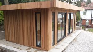 wooden garden shed home office. image description wooden garden shed home office e