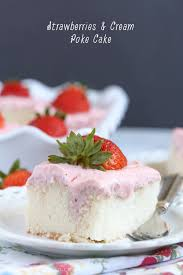 Strawberries And Cream Poke Cake With Strawberry Cream Cheese Frosting