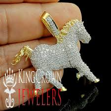 details about 10k yellow gold on solid stering silver genuine real diamond horse charm pendant