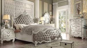 Gray Leatherette White Bone Sleigh Bed AC Chatueau | Traditional ...