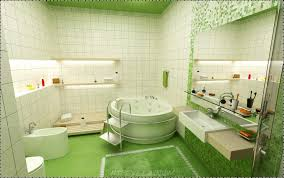 interior round white bath up and toilet on the green floor combined with white floating