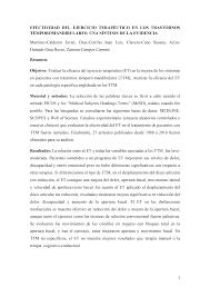 EFECTIVIDAD DEL EJERCICIO TERAPÉUTICO EN LOS TRASTORNOS  TÉMPOROMANDIBULARES: UNA SÍNTESIS DE LA EVIDENCIA Martinez-Calderon J
