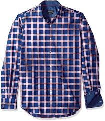 Bugatchi Mens Long Sleeve Slim Fit Checkered Cotton Pattern