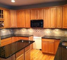 Small Picture tile backsplash granite countertop oak colored cupboards