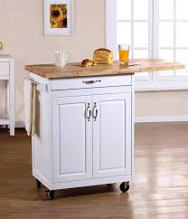 Stylish White wooden Small Portable Kitchen Island