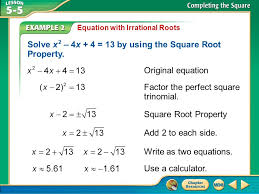 3 solve x 2 4x 4 13 by using the square root property