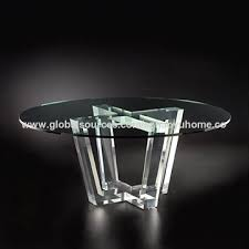 china modern big round table tempered glass top acrylic base dining table