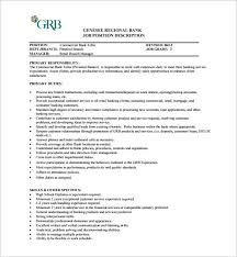 Bank Manager Job Description Bank Teller Job Description Template 6 Free Word Pdf