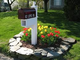 Decorations:Spectacular Black Motorcycle Pattern Mailbox Idea Feat Concrete  Border Line Mailbox Garden Idea With