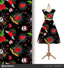 шаблон платье ткань с смешные татуировки векторное изображение