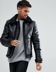 river island aviator jacket with faux fur lining in black borg collar black 1196300 sfcyein
